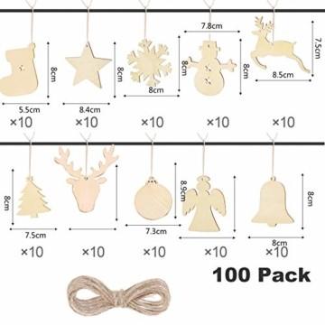 100 Stück Kleine Anhänger Holz Weihnachten,Anhänger Dekoration Holz,Weihnachtsbaum Deko Holz,weihnachtsdeko basteln,Holz Weihnachtsdeko Anhänger,Ornamenten für Weihnachtsbaum(100-2 pcs) - 7