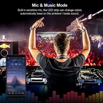 10M Bluetooth LED Streifen Musical 5050 RGB, LED Strip 300 LED Lichtband, Musikalische Funktion, Persönlicher Zeitplan, APP-Steuerung und Fernbedienung, Farbwechsel LED Band Wasserdicht - 3