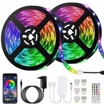 10M Bluetooth LED Streifen Musical 5050 RGB, LED Strip 300 LED Lichtband, Musikalische Funktion, Persönlicher Zeitplan, APP-Steuerung und Fernbedienung, Farbwechsel LED Band Wasserdicht - 1