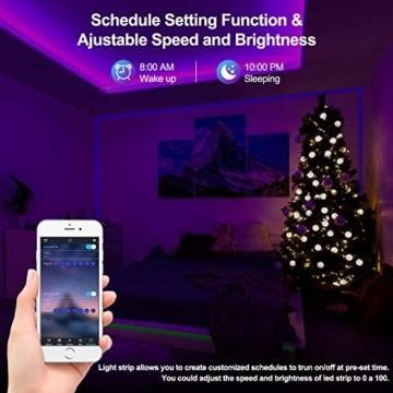 10M Bluetooth LED Streifen Musical 5050 RGB, LED Strip 300 LED Lichtband, Musikalische Funktion, Persönlicher Zeitplan, APP-Steuerung und Fernbedienung, Farbwechsel LED Band Wasserdicht - 6