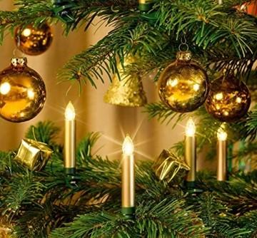 12-er Set Weihnachtsbaumkerzen ✔ kabellos ✔ Timer ✔ Dimmfunktion ✔ Flacker-Modus ✔ GS geprüft ✔ inkl. Batterien ✔ Weihnachtsbeleuchtung für Innen & geschützten Außenbereich (Gold) - 3