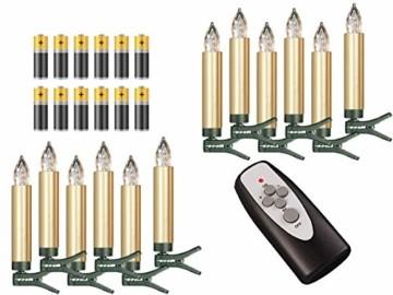 12-er Set Weihnachtsbaumkerzen ✔ kabellos ✔ Timer ✔ Dimmfunktion ✔ Flacker-Modus ✔ GS geprüft ✔ inkl. Batterien ✔ Weihnachtsbeleuchtung für Innen & geschützten Außenbereich (Gold) - 1