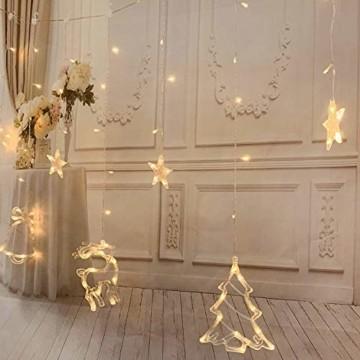 138 LED Lichtervorhang, LED Lichterkette mit Sterne & Weihnachtsmuster, Weihnachtsbeleuchtung Innen/Außen, EU Stecker, Wasserdicht Dekoration für Weihnachtsdeko Christmas (Warmweiß) - 2