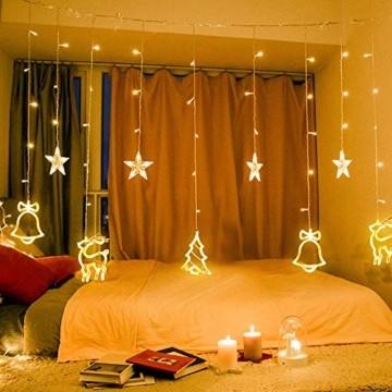 138 LED Lichtervorhang, LED Lichterkette mit Sterne & Weihnachtsmuster, Weihnachtsbeleuchtung Innen/Außen, EU Stecker, Wasserdicht Dekoration für Weihnachtsdeko Christmas (Warmweiß) - 1