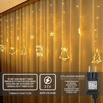 138 LED Lichtervorhang, LED Lichterkette mit Sterne & Weihnachtsmuster, Weihnachtsbeleuchtung Innen/Außen, EU Stecker, Wasserdicht Dekoration für Weihnachtsdeko Christmas (Warmweiß) - 5
