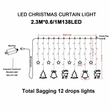 138 LED Lichtervorhang, LED Lichterkette mit Sterne & Weihnachtsmuster, Weihnachtsbeleuchtung Innen/Außen, EU Stecker, Wasserdicht Dekoration für Weihnachtsdeko Christmas (Warmweiß) - 6