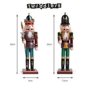 2 Stück Holz Weihnachten Nussknacker Figuren, 30cm  Premium Kiefern & Holzmaterial, Robuste, Festliche Farben  Klassische traditionelle Weihnachtsdekorationen Haus Deko. - 2