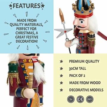 2 Stück Holz Weihnachten Nussknacker Figuren, 30cm| Premium Kiefern & Holzmaterial, Robuste, Festliche Farben| Klassische traditionelle Weihnachtsdekorationen Haus Deko. - 3
