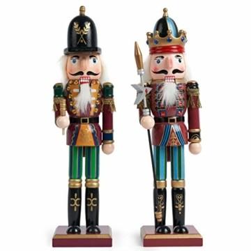 2 Stück Holz Weihnachten Nussknacker Figuren, 30cm  Premium Kiefern & Holzmaterial, Robuste, Festliche Farben  Klassische traditionelle Weihnachtsdekorationen Haus Deko. - 1