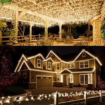 [2 Stück] Solar Lichterkette Aussen, BrizLabs 12M 120 LED Außen Lichterkette Kupferdraht Solarlichterkette Warmweiß Wasserdicht 8 Modi für Weihnachten, Garten, Balkon, Hochzeit, Terrasse, Party Deko - 3