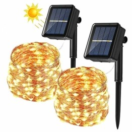 [2 Stück] Solar Lichterkette Aussen, BrizLabs 12M 120 LED Außen Lichterkette Kupferdraht Solarlichterkette Warmweiß Wasserdicht 8 Modi für Weihnachten, Garten, Balkon, Hochzeit, Terrasse, Party Deko - 1