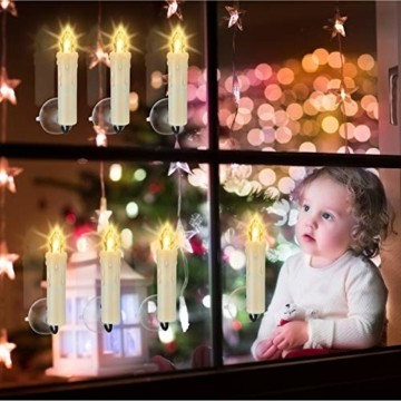 20/30/40 er LED Weihnachtskerzen mit Fernbedienung Timer Dimmbar, Christbaumkerzen Kabellose Weihnachtsbaumkerzen für Weihnachtsbaum Weihnachtsdeko Hochzeit (30stück) - 3