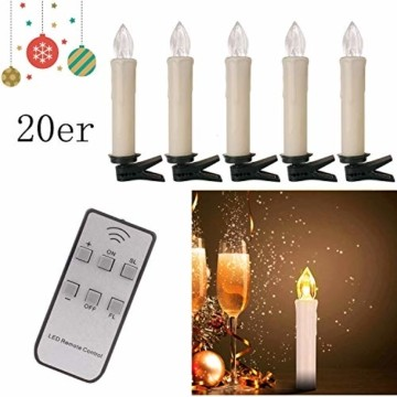 20/30/40er LED Lichterkette Kabellos Weihnachtskerzen Christbaumschmuck Weihnachtsbaumbeleuchtung 20*milchweisse Hülle - 3