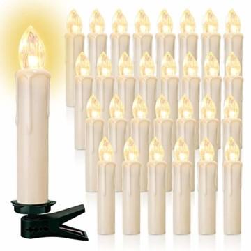 20/30/40er LED Lichterkette Kabellos Weihnachtskerzen Christbaumschmuck Weihnachtsbaumbeleuchtung 20*milchweisse Hülle - 1