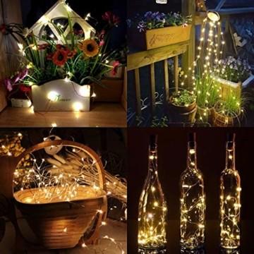 (24 Stück) Flaschenlicht Batterie, kolpop 2m 20 LED Glas Korken Licht Kupferdraht Lichterkette für flasche für Party, Garten, Weihnachten, Halloween, Hochzeit, außen/innen Beleuchtung Deko (Warmweiß) - 2