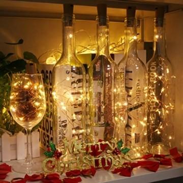 (24 Stück) Flaschenlicht Batterie, kolpop 2m 20 LED Glas Korken Licht Kupferdraht Lichterkette für flasche für Party, Garten, Weihnachten, Halloween, Hochzeit, außen/innen Beleuchtung Deko (Warmweiß) - 3