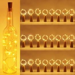 (24 Stück) Flaschenlicht Batterie, kolpop 2m 20 LED Glas Korken Licht Kupferdraht Lichterkette für flasche für Party, Garten, Weihnachten, Halloween, Hochzeit, außen/innen Beleuchtung Deko (Warmweiß) - 1