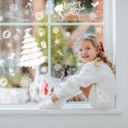 240 Stück Frohe Weihnachten Schneeflocken Selbstklebende Fensterbilder| Wasserdichtes, Wiederverwendbar, Statisches PVC Weihnachtsdekor| Weihnachtsaufkleber Fenster für Hause Büro Geschäft Café. - 1