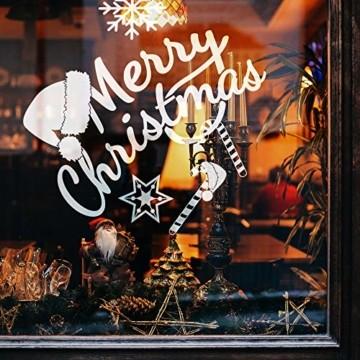 240 Stück Frohe Weihnachten Schneeflocken Selbstklebende Fensterbilder| Wasserdichtes, Wiederverwendbar, Statisches PVC Weihnachtsdekor| Weihnachtsaufkleber Fenster für Hause Büro Geschäft Café. - 4