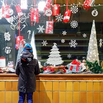 240 Stück Frohe Weihnachten Schneeflocken Selbstklebende Fensterbilder| Wasserdichtes, Wiederverwendbar, Statisches PVC Weihnachtsdekor| Weihnachtsaufkleber Fenster für Hause Büro Geschäft Café. - 5