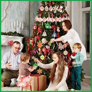 30 Stück Weihnachtsbaum Anhänger und 30 Stück Glöckchen, DIY Weihnachtsdekoration Holz Scheiben Holz Schneeflocke Runde Holzscheiben Holz Weihnachtsbaum Weihnachten Deko zum Bemalen und Verzieren - 3