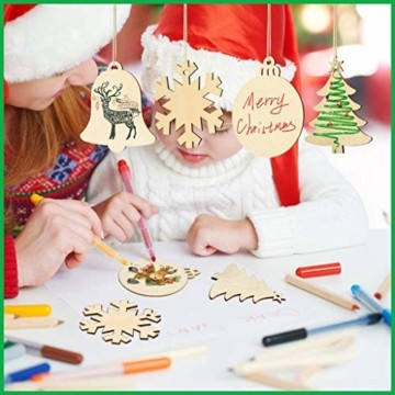 30 Stück Weihnachtsbaum Anhänger und 30 Stück Glöckchen, DIY Weihnachtsdekoration Holz Scheiben Holz Schneeflocke Runde Holzscheiben Holz Weihnachtsbaum Weihnachten Deko zum Bemalen und Verzieren - 4