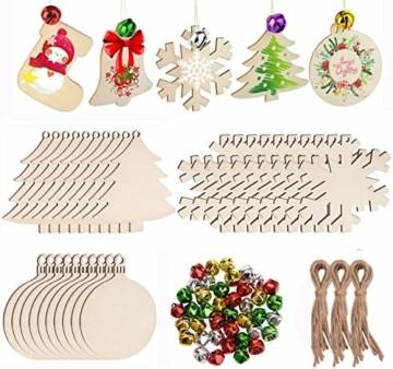 30 Stück Weihnachtsbaum Anhänger und 30 Stück Glöckchen, DIY Weihnachtsdekoration Holz Scheiben Holz Schneeflocke Runde Holzscheiben Holz Weihnachtsbaum Weihnachten Deko zum Bemalen und Verzieren - 1