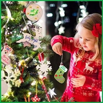 30 Stück Weihnachtsbaum Anhänger und 30 Stück Glöckchen, DIY Weihnachtsdekoration Holz Scheiben Holz Schneeflocke Runde Holzscheiben Holz Weihnachtsbaum Weihnachten Deko zum Bemalen und Verzieren - 5