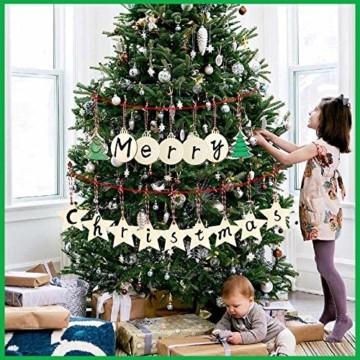 30 Stück Weihnachtsbaum Anhänger und 30 Stück Glöckchen, DIY Weihnachtsdekoration Holz Scheiben Holz Schneeflocke Runde Holzscheiben Holz Weihnachtsbaum Weihnachten Deko zum Bemalen und Verzieren - 6