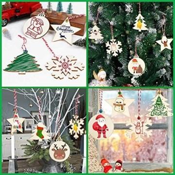 30 Stück Weihnachtsbaum Anhänger und 30 Stück Glöckchen, DIY Weihnachtsdekoration Holz Scheiben Holz Schneeflocke Runde Holzscheiben Holz Weihnachtsbaum Weihnachten Deko zum Bemalen und Verzieren - 7