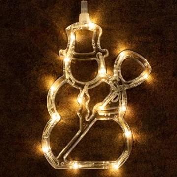 3er Set Fensterbilder 45 LED warm weiß mit Saugnapf Schneemann Rentier Stern Batterie Innen Fensterdeko Weihnachten Weihnachtsdeko Xmas 3 Motive - 6