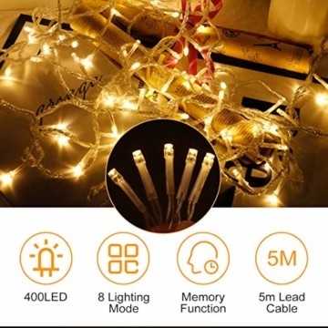 400 LED 20.8M Lichterkette Eisregen Außen, Opard Lichtervorhang Eiszapfen mit Steckdose, 8 Modi IP44 Wasserdicht für Party, Hochzeit, Feier, Geburtstag, Terrasse, Außen Dekoration - 3