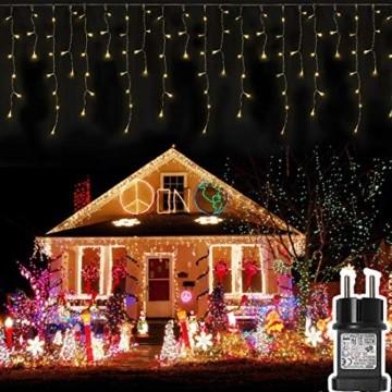 400 LED 20.8M Lichterkette Eisregen Außen, Opard Lichtervorhang Eiszapfen mit Steckdose, 8 Modi IP44 Wasserdicht für Party, Hochzeit, Feier, Geburtstag, Terrasse, Außen Dekoration - 1