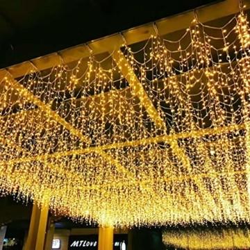400 LED 20.8M Lichterkette Eisregen Außen, Opard Lichtervorhang Eiszapfen mit Steckdose, 8 Modi IP44 Wasserdicht für Party, Hochzeit, Feier, Geburtstag, Terrasse, Außen Dekoration - 7