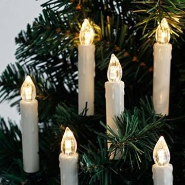 40er Christbaumkerzen Kabellos Dimmbar Flacker Warmweiß Weihnachtsbaumkerzen mit Fernbedienung - 3