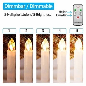 40er Christbaumkerzen Kabellos Dimmbar Flacker Warmweiß Weihnachtsbaumkerzen mit Fernbedienung - 4