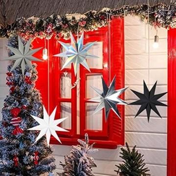5er Set Faltsterne Papier Stern 9 Zacken Faltsterne Weihnachtsstern für Weihnachtsbaum Dekor Ornament Set - 2