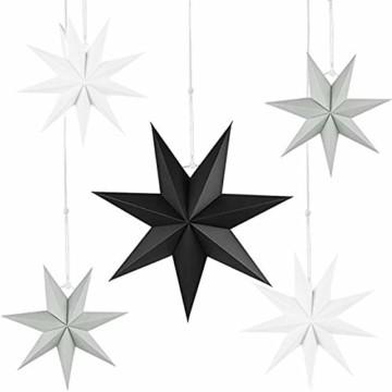5er Set Faltsterne Papier Stern 9 Zacken Faltsterne Weihnachtsstern für Weihnachtsbaum Dekor Ornament Set - 1