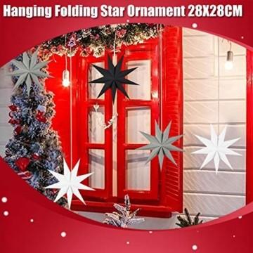 5er Set Faltsterne Papier Stern 9 Zacken Faltsterne Weihnachtsstern für Weihnachtsbaum Dekor Ornament Set - 5