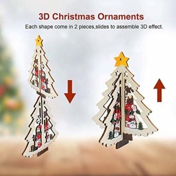 8 Stück Kleine Anhänger Holz Weihnachten,3D WeihnachtsbaumschmuckAnhänger Dekoration Holz,Weihnachtsbaum Deko Holz,Holz Weihnachtsdeko Anhänger,Ornamenten für Weihnachtsbaum,weihnachtsdeko basteln - 2