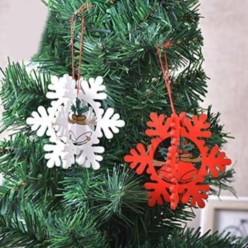 8 Stück Kleine Anhänger Holz Weihnachten,3D WeihnachtsbaumschmuckAnhänger Dekoration Holz,Weihnachtsbaum Deko Holz,Holz Weihnachtsdeko Anhänger,Ornamenten für Weihnachtsbaum,weihnachtsdeko basteln - 3