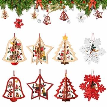 8 Stück Kleine Anhänger Holz Weihnachten,3D WeihnachtsbaumschmuckAnhänger Dekoration Holz,Weihnachtsbaum Deko Holz,Holz Weihnachtsdeko Anhänger,Ornamenten für Weihnachtsbaum,weihnachtsdeko basteln - 1