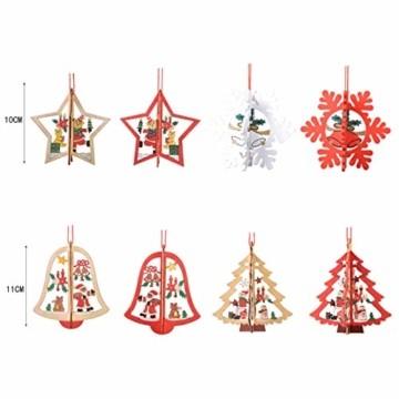8 Stück Kleine Anhänger Holz Weihnachten,3D WeihnachtsbaumschmuckAnhänger Dekoration Holz,Weihnachtsbaum Deko Holz,Holz Weihnachtsdeko Anhänger,Ornamenten für Weihnachtsbaum,weihnachtsdeko basteln - 5