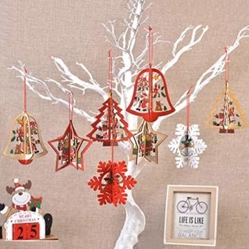 8 Stück Kleine Anhänger Holz Weihnachten,3D WeihnachtsbaumschmuckAnhänger Dekoration Holz,Weihnachtsbaum Deko Holz,Holz Weihnachtsdeko Anhänger,Ornamenten für Weihnachtsbaum,weihnachtsdeko basteln - 7