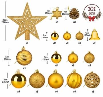 Adorfine 101 teilig Weihnachtskugel Set Christbaumkugeln Baumschmuck mit Gold Christbaumspitze Sterne Kiefernzapfen Weihnachtsbaumschmuck Kunststoff Baumkugeln Weihnachtsdeko (Gold) - 3