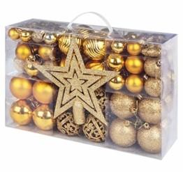 Adorfine 101 teilig Weihnachtskugel Set Christbaumkugeln Baumschmuck mit Gold Christbaumspitze Sterne Kiefernzapfen Weihnachtsbaumschmuck Kunststoff Baumkugeln Weihnachtsdeko (Gold) - 1