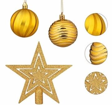 Adorfine 101 teilig Weihnachtskugel Set Christbaumkugeln Baumschmuck mit Gold Christbaumspitze Sterne Kiefernzapfen Weihnachtsbaumschmuck Kunststoff Baumkugeln Weihnachtsdeko (Gold) - 4