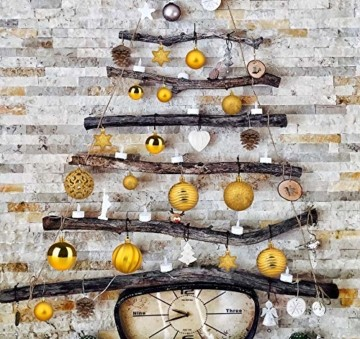 Adorfine 101 teilig Weihnachtskugel Set Christbaumkugeln Baumschmuck mit Gold Christbaumspitze Sterne Kiefernzapfen Weihnachtsbaumschmuck Kunststoff Baumkugeln Weihnachtsdeko (Gold) - 5