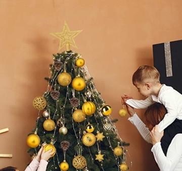 Adorfine 101 teilig Weihnachtskugel Set Christbaumkugeln Baumschmuck mit Gold Christbaumspitze Sterne Kiefernzapfen Weihnachtsbaumschmuck Kunststoff Baumkugeln Weihnachtsdeko (Gold) - 6
