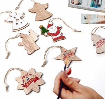 Adorfine 12 Stück Holz Christbaumschmuck Doppelschicht Weihnachtsanhänger Christbaumanhänger Holz Weihnachtsbaumschmuck Anhänger für Weihnachtskalender Verzierung Deko(Weiße) - 2